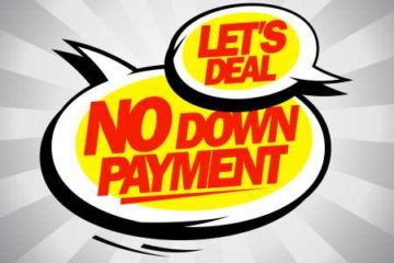 """Decals stating """"NO Down Payment"""" and """"Lets Deal"""""""